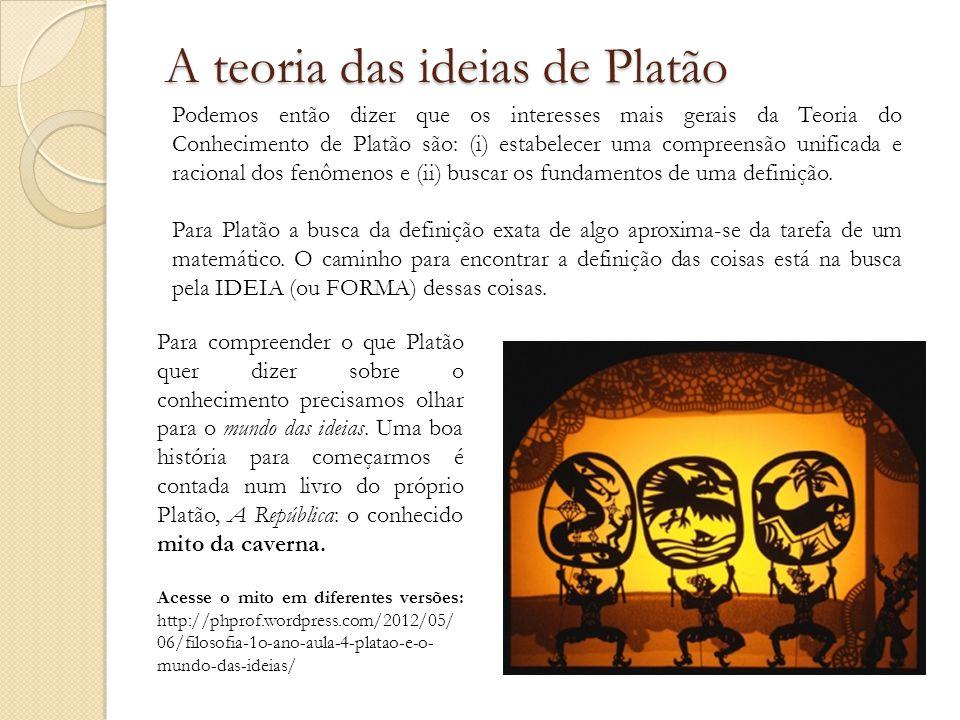 Podemos então dizer que os interesses mais gerais da Teoria do Conhecimento de Platão são: (i) estabelecer uma compreensão unificada e racional dos fenômenos e (ii) buscar os fundamentos de uma definição.