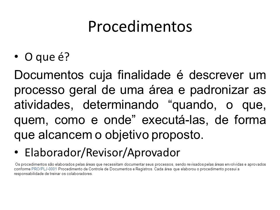 """Procedimentos O que é? Documentos cuja finalidade é descrever um processo geral de uma área e padronizar as atividades, determinando """"quando, o que, q"""