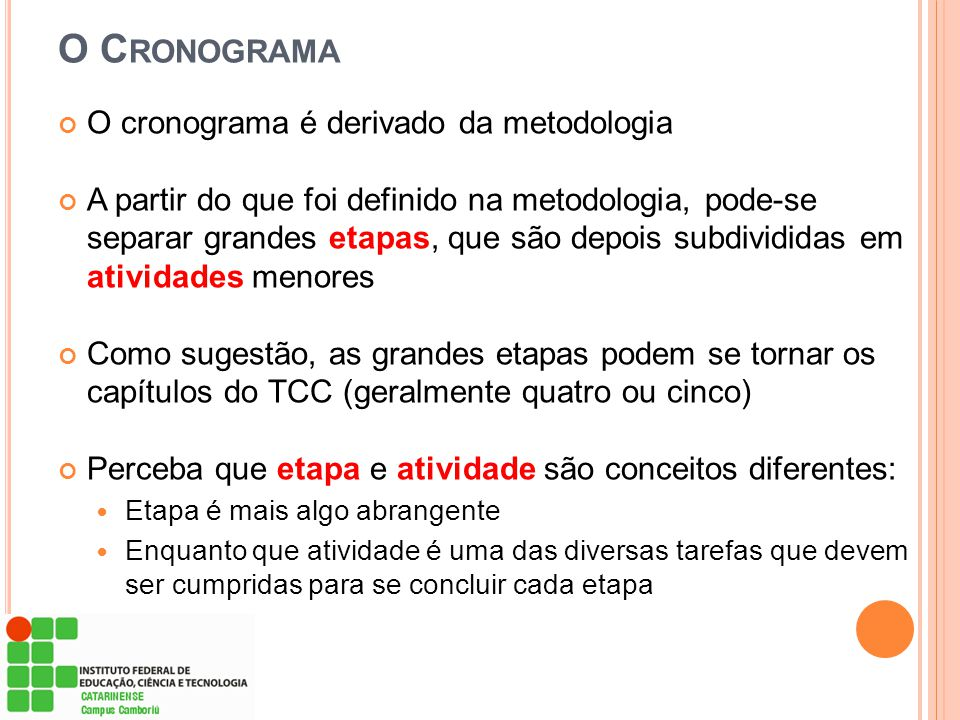 O C RONOGRAMA O cronograma é derivado da metodologia A partir do que foi definido na metodologia, pode-se separar grandes etapas, que são depois subdi