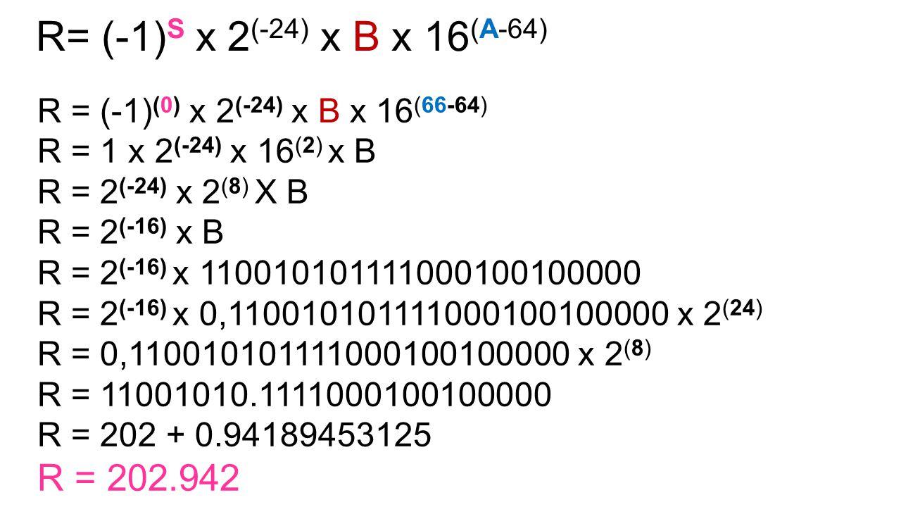 R = (-1) (0) x 2 (-24) x B x 16 (66-64) R = 1 x 2 (-24) x 16 (2) x B R = 2 (-24) x 2 (8) X B R = 2 (-16) x B R = 2 (-16) x 110010101111000100100000 R = 2 (-16) x 0,110010101111000100100000 x 2 (24) R = 0,110010101111000100100000 x 2 (8) R = 11001010.1111000100100000 R = 202 + 0.94189453125 R = 202.942 R= (-1) S x 2 (-24) x B x 16 (A-64)
