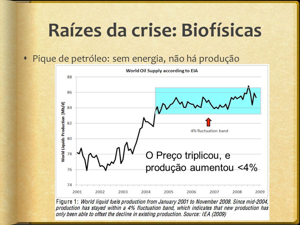Raízes da crise: Biofísicas  Pique de petróleo: sem energia, não há produção O Preço triplicou, e produção aumentou <4%