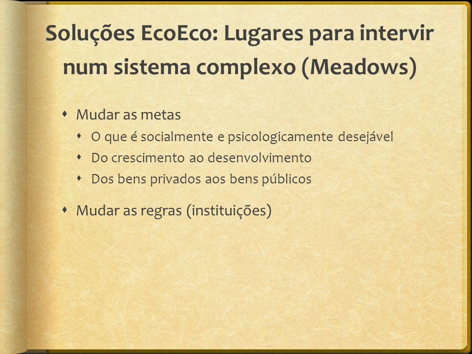 Soluções EcoEco: Lugares para intervir num sistema complexo (Meadows)  Mudar as metas  O que é socialmente e psicologicamente desejável  Do crescimento ao desenvolvimento  Dos bens privados aos bens públicos  Mudar as regras (instituições)