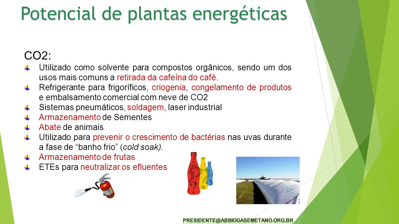 17 CO2: Utilizado como solvente para compostos orgânicos, sendo um dos usos mais comuns a retirada da cafeína do café. Refrigerante para frigoríficos,