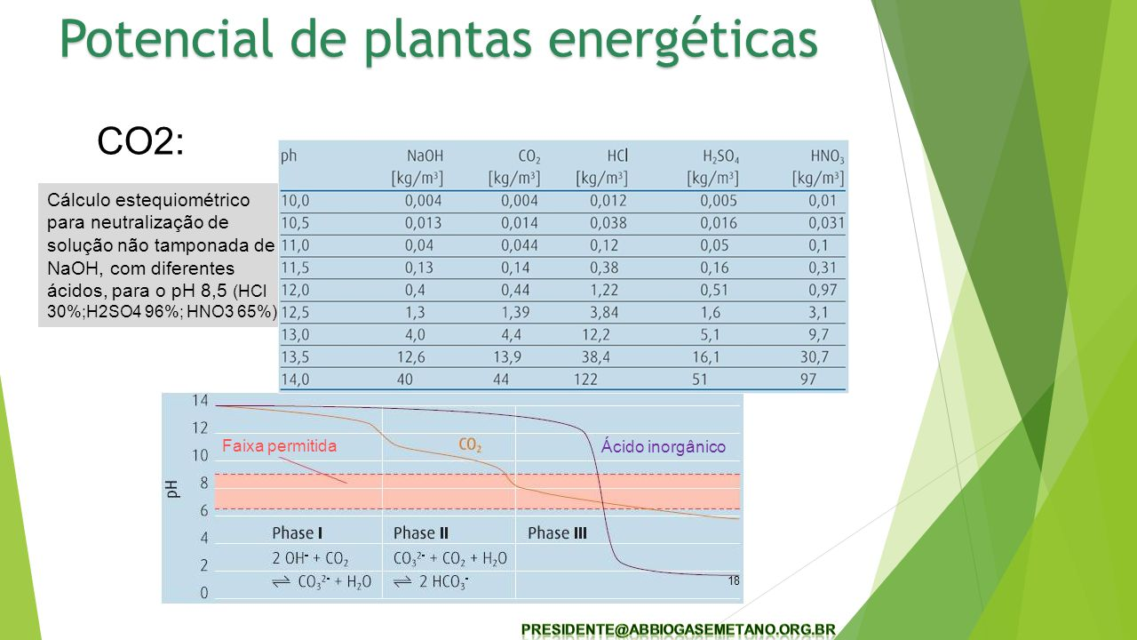 Cálculo estequiométrico para neutralização de solução não tamponada de NaOH, com diferentes ácidos, para o pH 8,5 (HCl 30%;H2SO4 96%; HNO3 65%) 18 CO2: Faixa permitida Ácido inorgânico Potencial de plantas energéticas