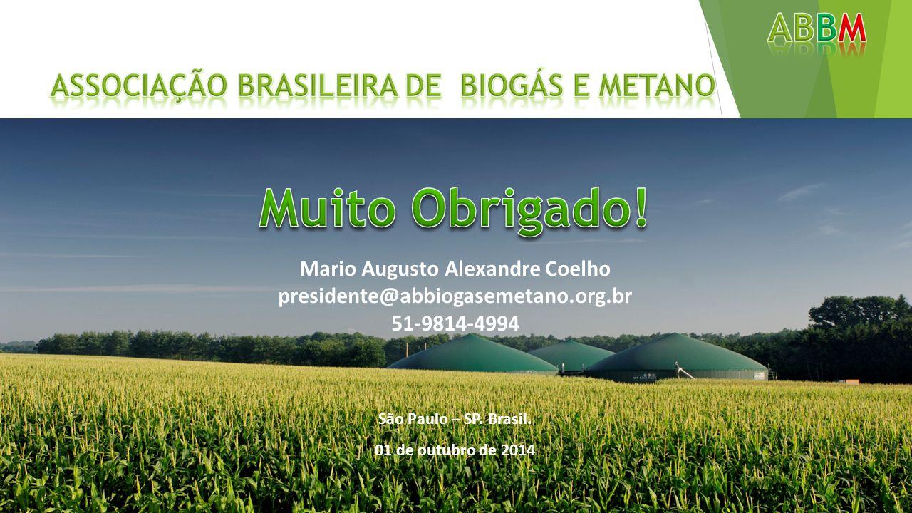Mario Augusto Alexandre Coelho presidente@abbiogasemetano.org.br 51-9814-4994 São Paulo – SP. Brasil. 01 de outubro de 2014