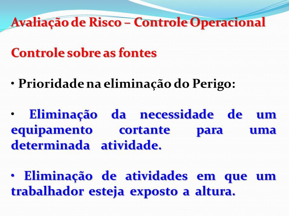 Avaliação de Risco – Controle Operacional Controle sobre as fontes Redução de riscos: Aquisição de equipamentos com um menor nível de ruído.