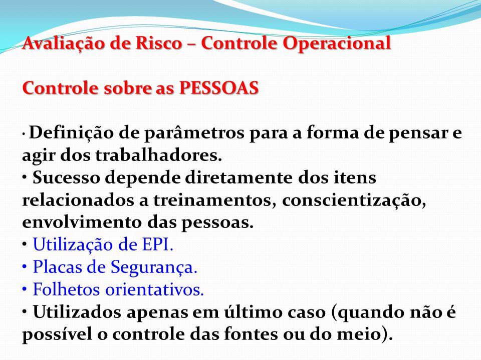 Avaliação de Risco – Controle Operacional Controles Operacionais A Implementação de um controle operacional, pode resultar na introdução de um novo perigo não existente anteriormente.