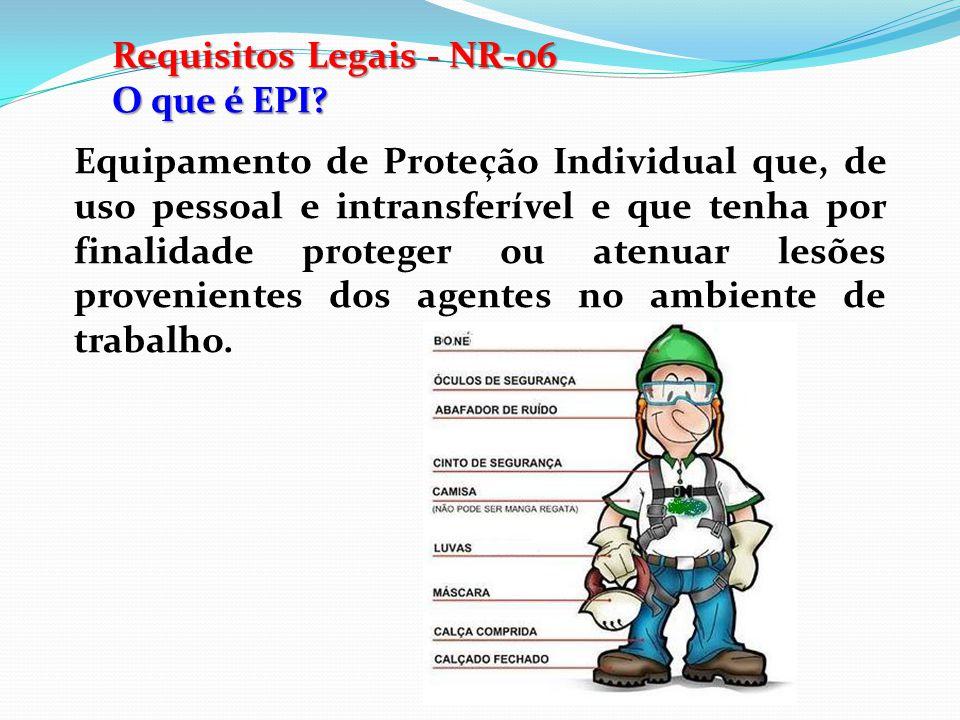 Requisitos Legais - NR-06 Responsabilidades do Empregado Usar os EPI's constantemente e apenas para as finalidades a que se destinam.