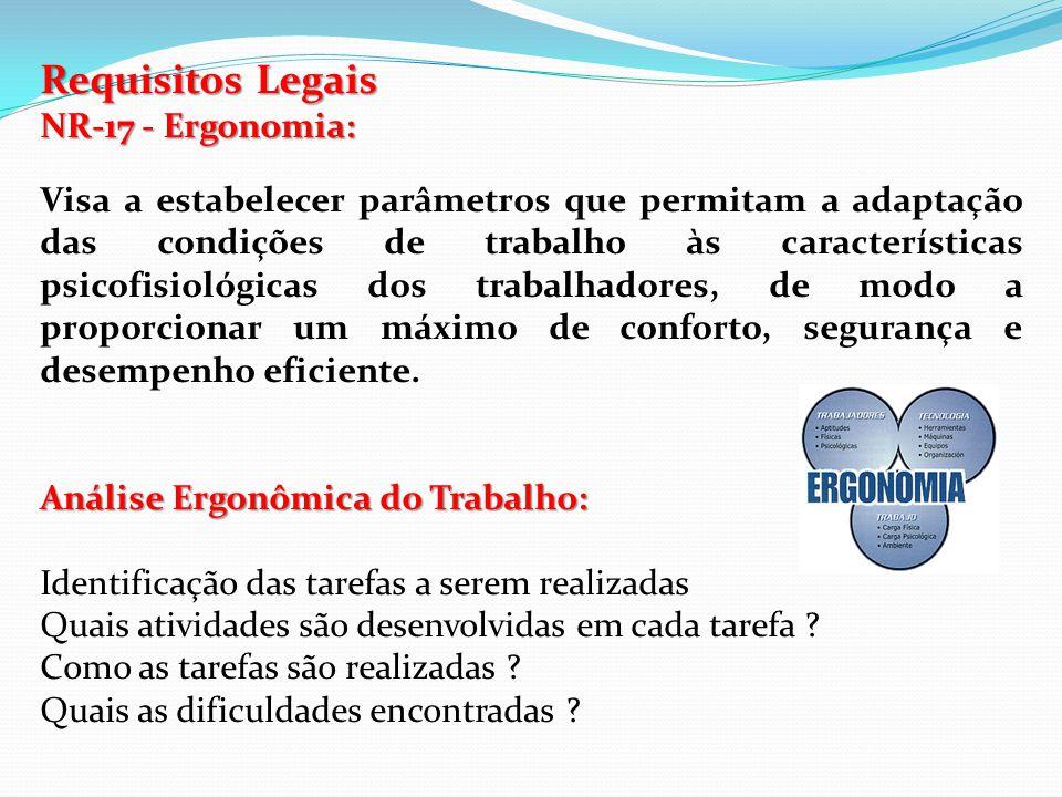 Requisitos Legais NR-17 - Ergonomia: Visa a estabelecer parâmetros que permitam a adaptação das condições de trabalho às características psicofisiológ