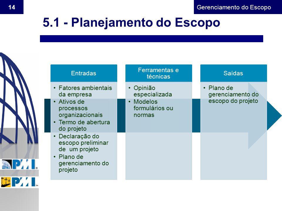 Gerenciamento do Escopo 14 5.1 - Planejamento do Escopo Entradas Fatores ambientais da empresa Ativos de processos organizacionais Termo de abertura d
