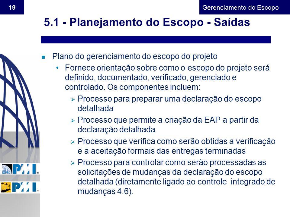 Gerenciamento do Escopo 19 n Plano do gerenciamento do escopo do projeto Fornece orientação sobre como o escopo do projeto será definido, documentado,