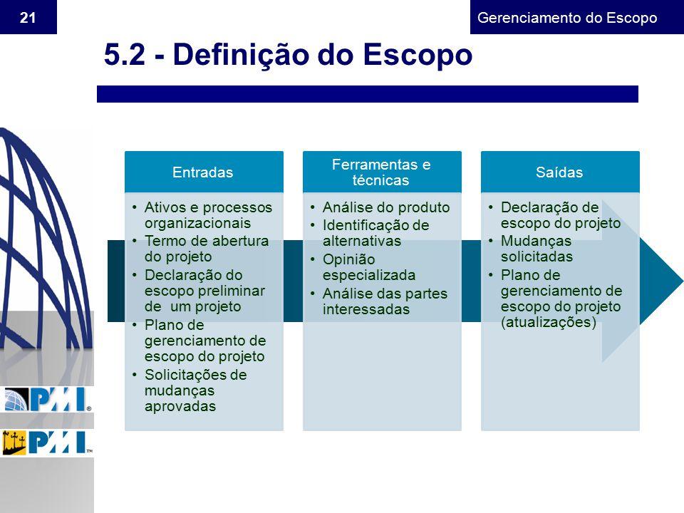 Gerenciamento do Escopo 21 5.2 - Definição do Escopo Entradas Ativos e processos organizacionais Termo de abertura do projeto Declaração do escopo pre