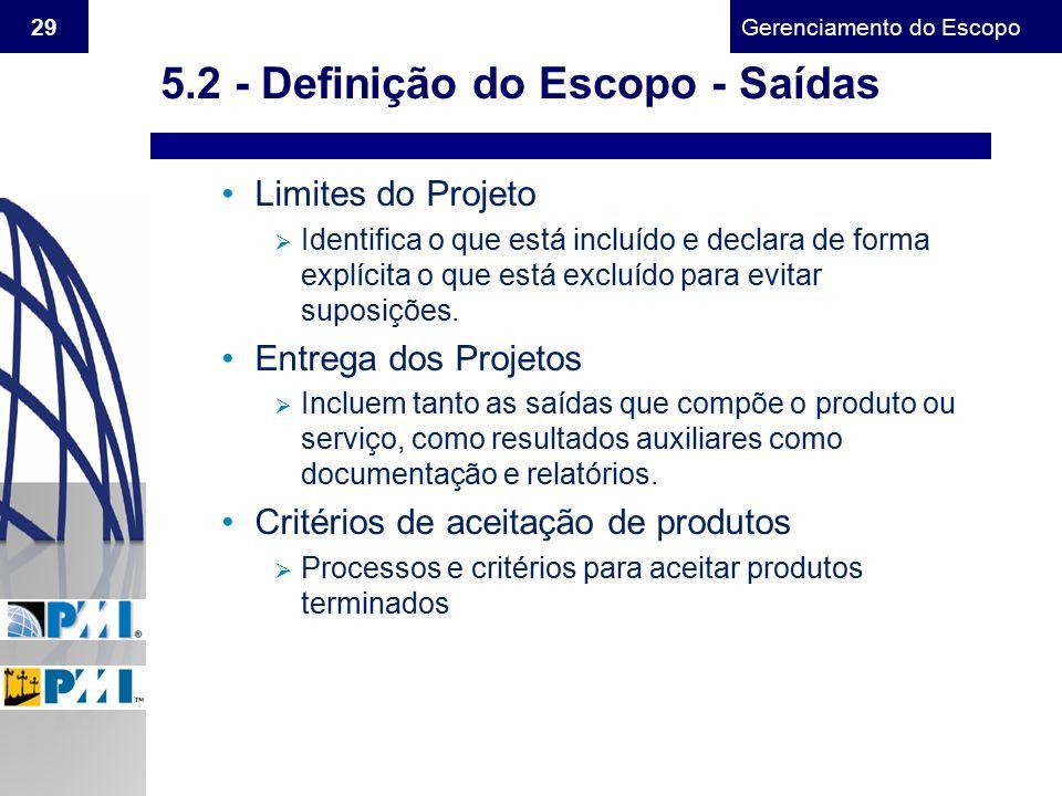 Gerenciamento do Escopo 29 Limites do Projeto  Identifica o que está incluído e declara de forma explícita o que está excluído para evitar suposições