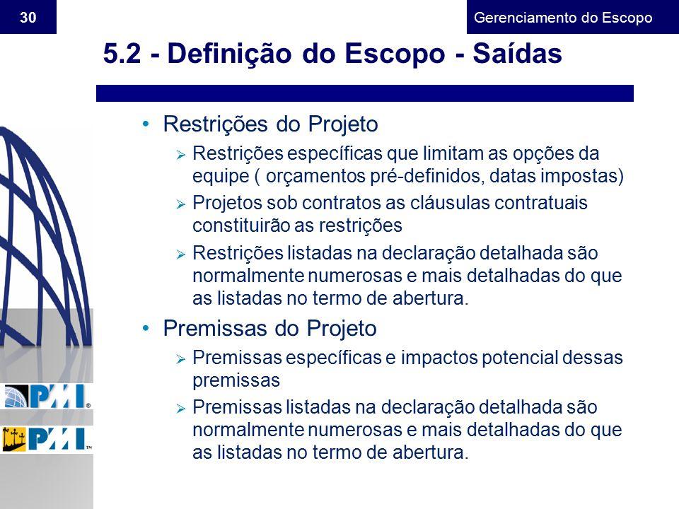 Gerenciamento do Escopo 30 Restrições do Projeto  Restrições específicas que limitam as opções da equipe ( orçamentos pré-definidos, datas impostas)