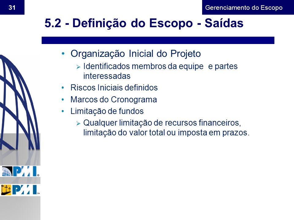 Gerenciamento do Escopo 31 Organização Inicial do Projeto  Identificados membros da equipe e partes interessadas Riscos Iniciais definidos Marcos do