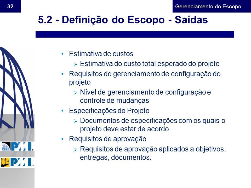 Gerenciamento do Escopo 32 Estimativa de custos  Estimativa do custo total esperado do projeto Requisitos do gerenciamento de configuração do projeto