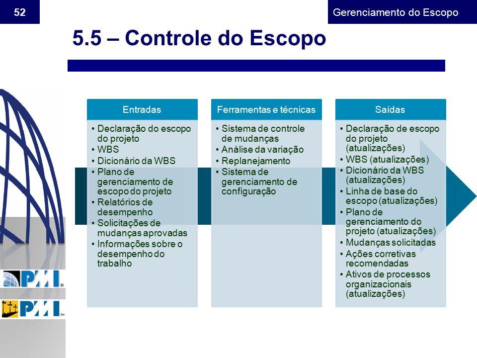 Gerenciamento do Escopo 52 5.5 – Controle do Escopo Entradas Declaração do escopo do projeto WBS Dicionário da WBS Plano de gerenciamento de escopo do