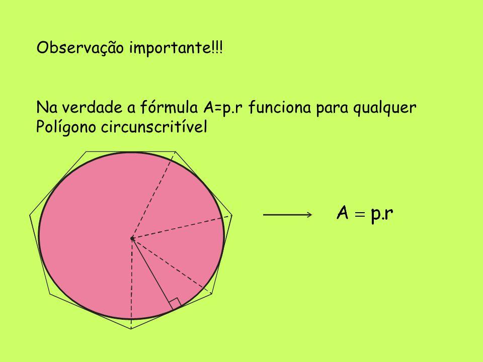 Observação importante!!! Na verdade a fórmula A=p.r funciona para qualquer Polígono circunscritível
