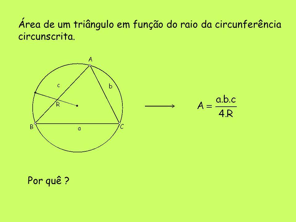 Área de um triângulo em função do raio da circunferência circunscrita. Por quê ?