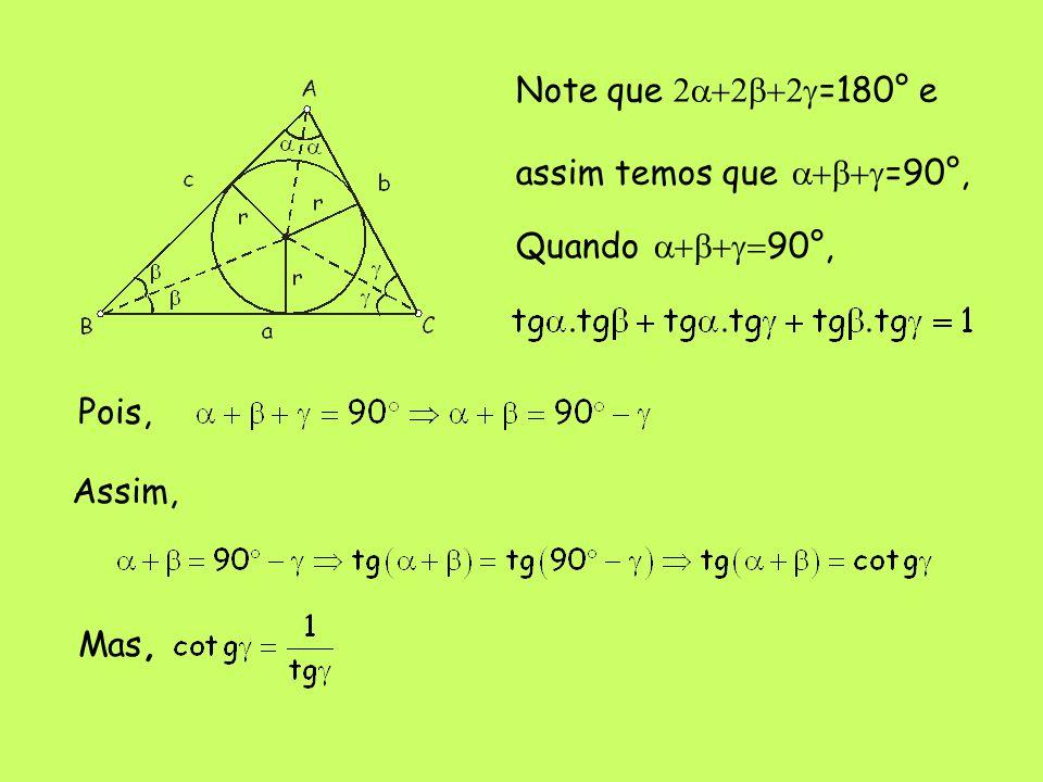 Quando  90°, Pois, Assim, Mas, Note que  =180° e assim temos que  =90°,