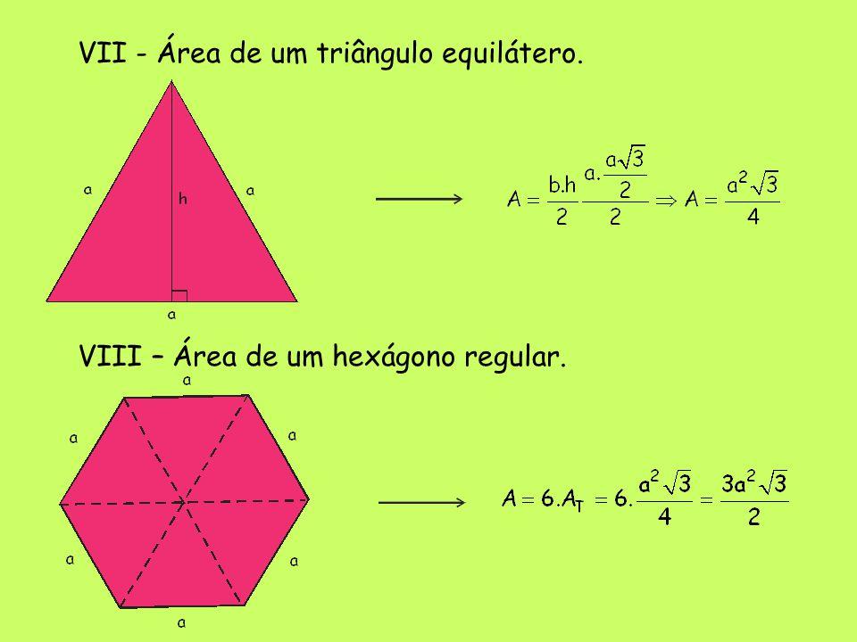 VII - Área de um triângulo equilátero. VIII – Área de um hexágono regular.