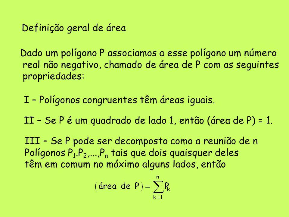 Definição geral de área Dado um polígono P associamos a esse polígono um número real não negativo, chamado de área de P com as seguintes propriedades: I – Polígonos congruentes têm áreas iguais.
