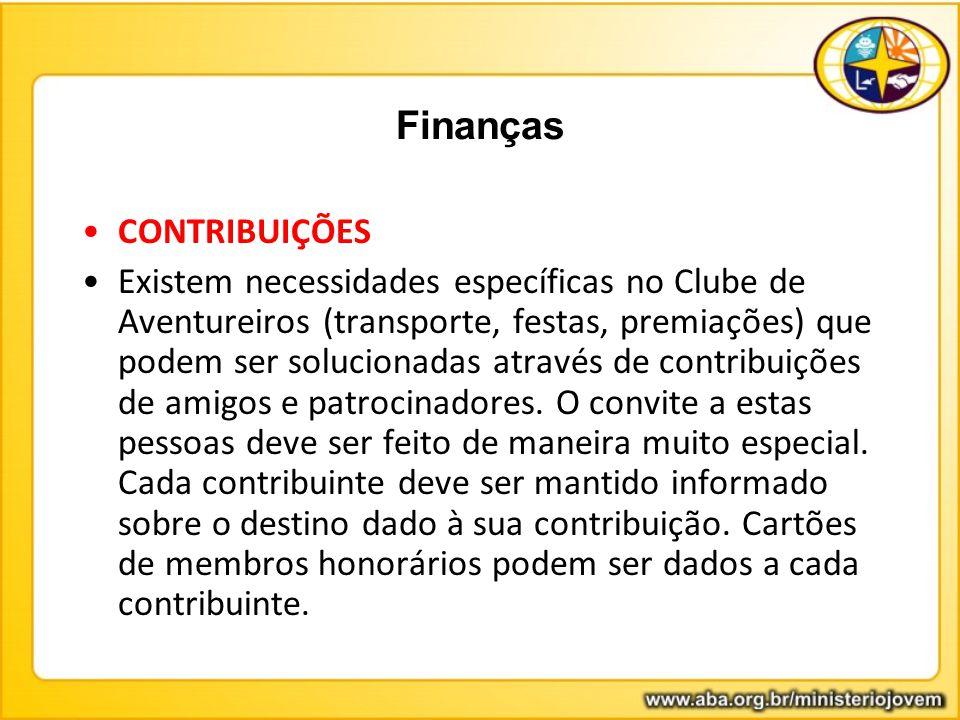 CONTRIBUIÇÕES Existem necessidades específicas no Clube de Aventureiros (transporte, festas, premiações) que podem ser solucionadas através de contrib