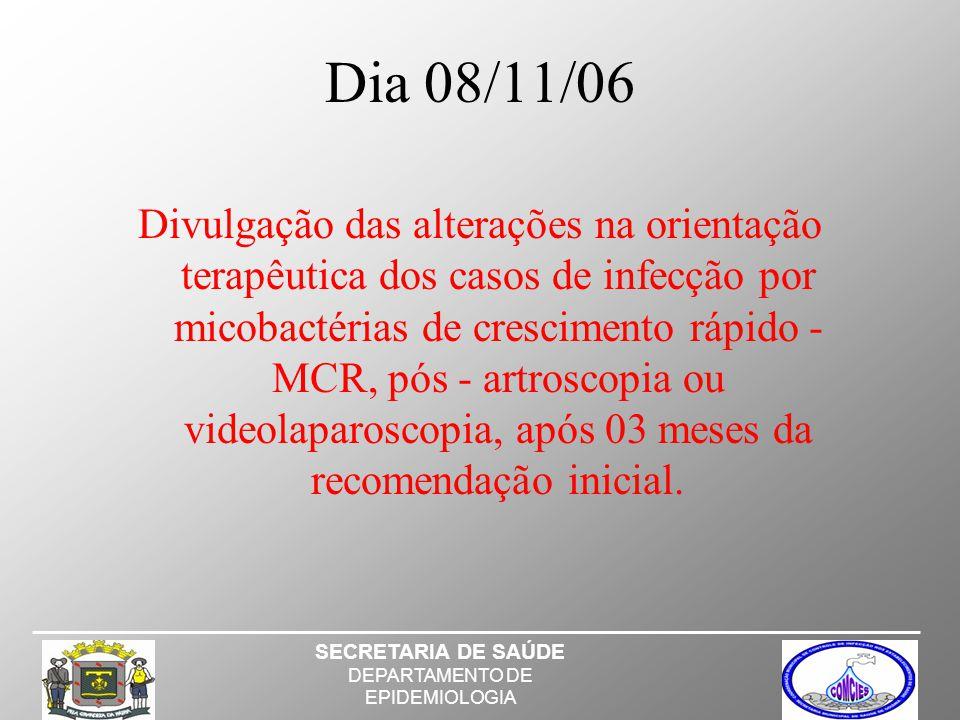 Dia 08/11/06 Divulgação das alterações na orientação terapêutica dos casos de infecção por micobactérias de crescimento rápido - MCR, pós - artroscopia ou videolaparoscopia, após 03 meses da recomendação inicial.