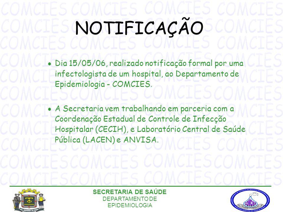 NOTIFICAÇÃO  Dia 15/05/06, realizado notificação formal por uma infectologista de um hospital, ao Departamento de Epidemiologia - COMCIES.
