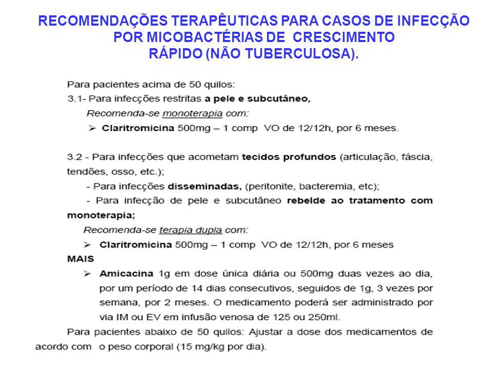 RECOMENDAÇÕES TERAPÊUTICAS PARA CASOS DE INFECÇÃO POR MICOBACTÉRIAS DE CRESCIMENTO RÁPIDO (NÃO TUBERCULOSA).