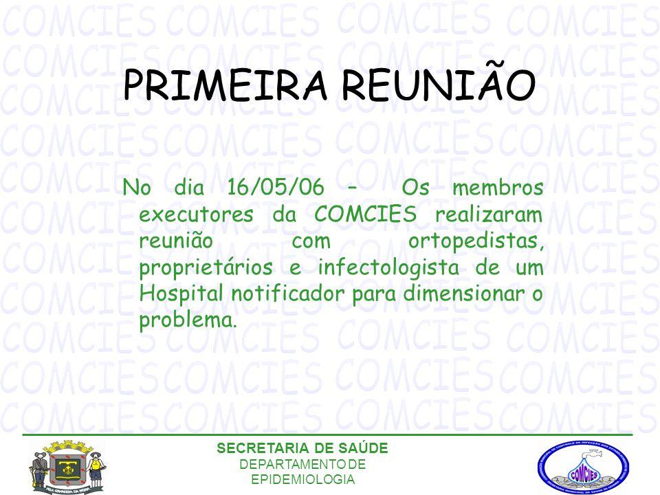 PRIMEIRA REUNIÃO No dia 16/05/06 – Os membros executores da COMCIES realizaram reunião com ortopedistas, proprietários e infectologista de um Hospital notificador para dimensionar o problema.