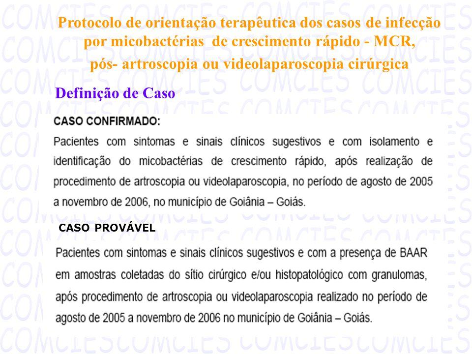 Protocolo de orientação terapêutica dos casos de infecção por micobactérias de crescimento rápido - MCR, pós- artroscopia ou videolaparoscopia cirúrgica Definição de Caso CASO PROVÁVEL