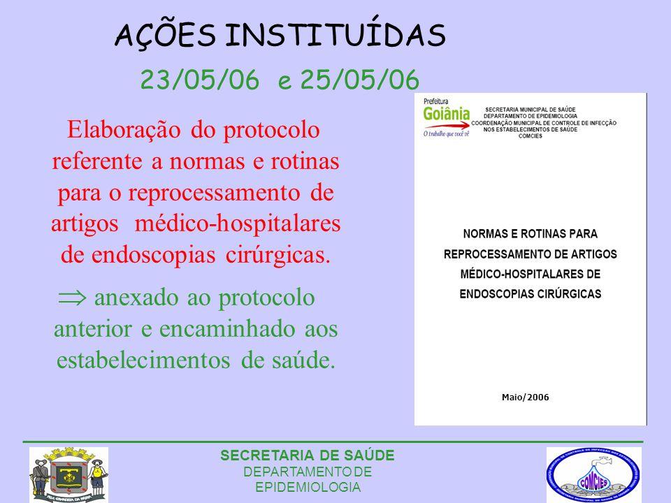 AÇÕES INSTITUÍDAS 23/05/06 e 25/05/06 Elaboração do protocolo referente a normas e rotinas para o reprocessamento de artigos médico-hospitalares de endoscopias cirúrgicas.