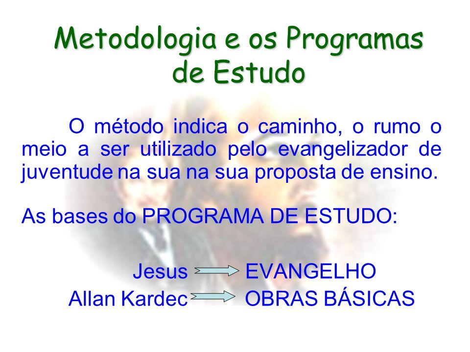 Metodologia e os Programas de Estudo O método indica o caminho, o rumo o meio a ser utilizado pelo evangelizador de juventude na sua na sua proposta de ensino.