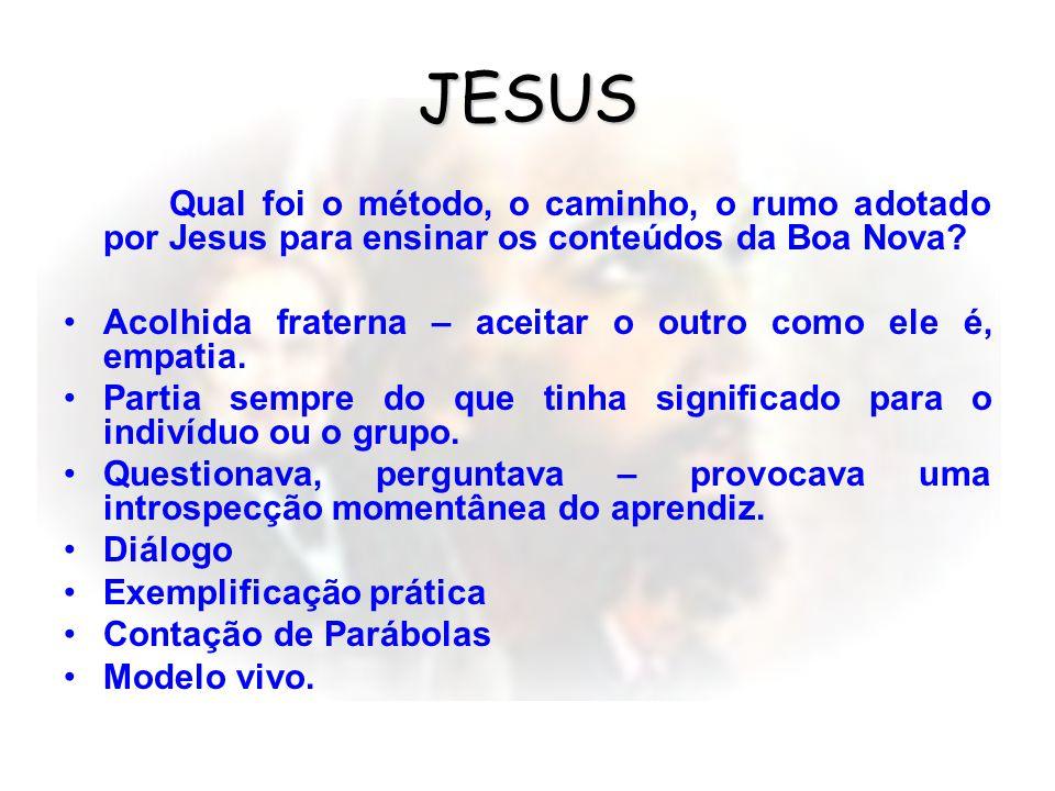 JESUS Qual foi o método, o caminho, o rumo adotado por Jesus para ensinar os conteúdos da Boa Nova.
