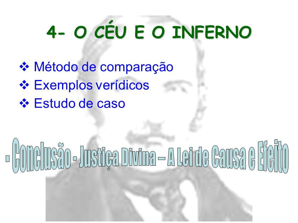 4- O CÉU E O INFERNO  Método de comparação  Exemplos verídicos  Estudo de caso