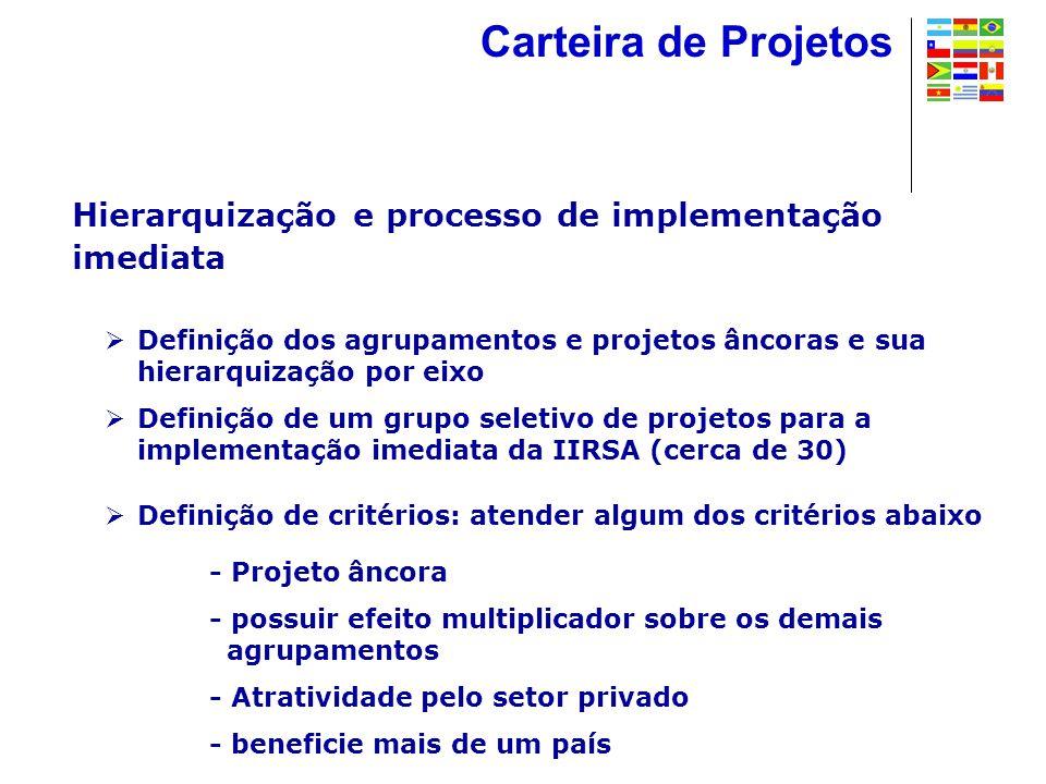 Hierarquização e processo de implementação imediata  Definição dos agrupamentos e projetos âncoras e sua hierarquização por eixo  Definição de um grupo seletivo de projetos para a implementação imediata da IIRSA (cerca de 30)  Definição de critérios: atender algum dos critérios abaixo - Projeto âncora - possuir efeito multiplicador sobre os demais agrupamentos - Atratividade pelo setor privado - beneficie mais de um país Carteira de Projetos