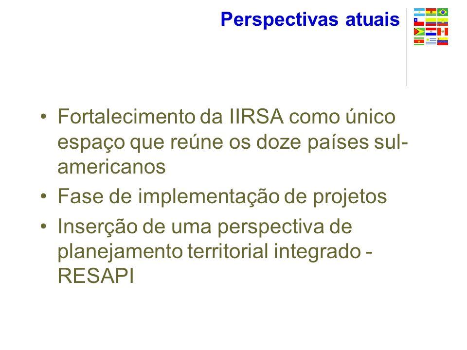 Perspectivas atuais Fortalecimento da IIRSA como único espaço que reúne os doze países sul- americanos Fase de implementação de projetos Inserção de uma perspectiva de planejamento territorial integrado - RESAPI