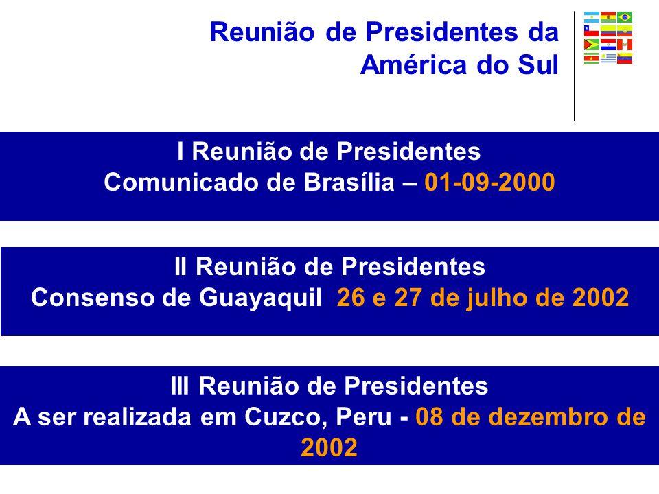 I Reunião de Presidentes Comunicado de Brasília – 01-09-2000 Reunião de Presidentes da América do Sul II Reunião de Presidentes Consenso de Guayaquil 26 e 27 de julho de 2002 III Reunião de Presidentes A ser realizada em Cuzco, Peru - 08 de dezembro de 2002