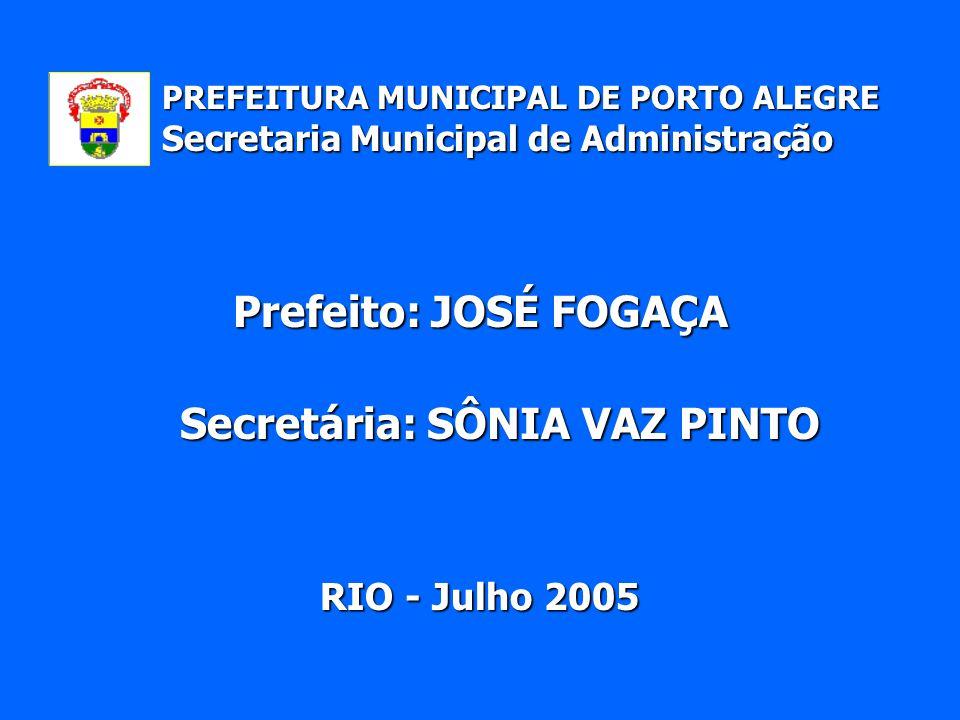 Secretaria Municipal de Administração Secretária: SÔNIA VAZ PINTO RIO - Julho 2005 PREFEITURA MUNICIPAL DE PORTO ALEGRE Prefeito: JOSÉ FOGAÇA