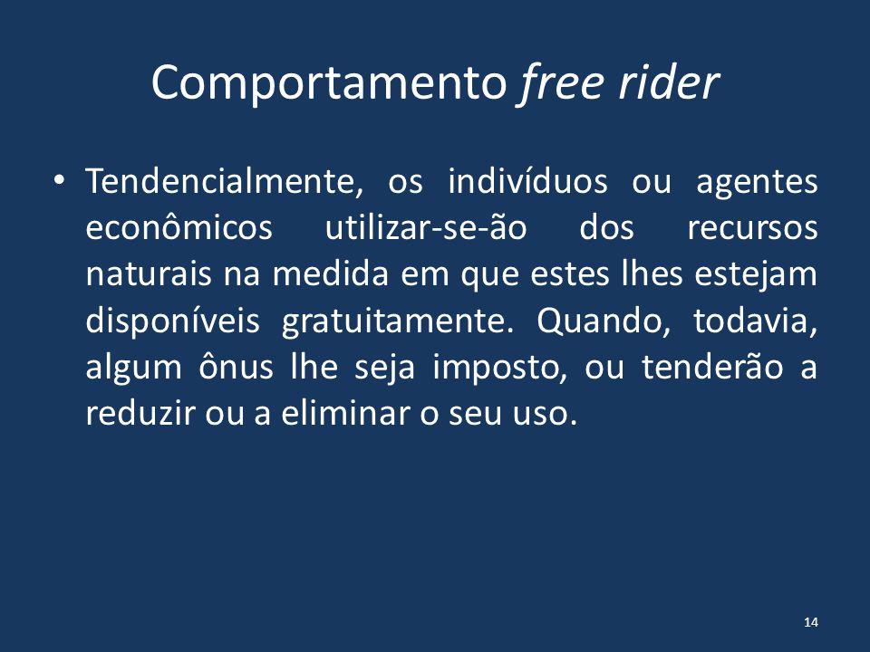 Comportamento free rider Ex.: uma dada empresa lança poluentes (seus efluentes líquidos, por exemplo) não tratados e de forma clandestina em um rio.