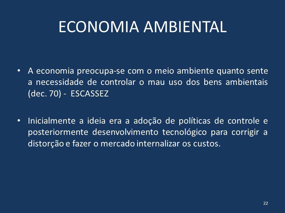 ECONOMIA ECOLÓGICA Não é suficiente apenas internalizar as externalidades, mas sim......buscar a estabilidade das funções ecológicas, particularmente...