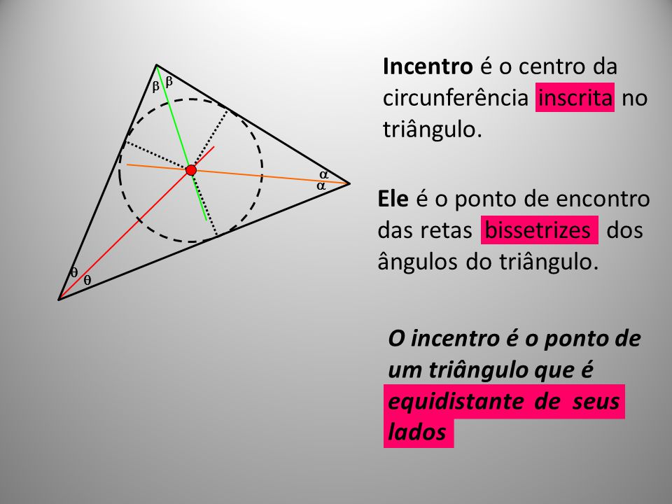 O incentro é o ponto de um triângulo que é equidistante de seus lados Ele é o ponto de encontro das retas bissetrizes dos ângulos do triângulo. Incent