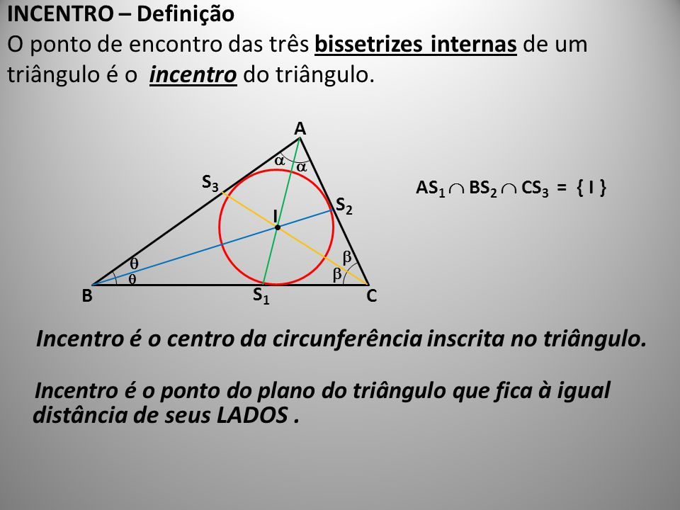 INCENTRO – Definição O ponto de encontro das três bissetrizes internas de um triângulo é o incentro do triângulo. Incentro é o centro da circunferênci