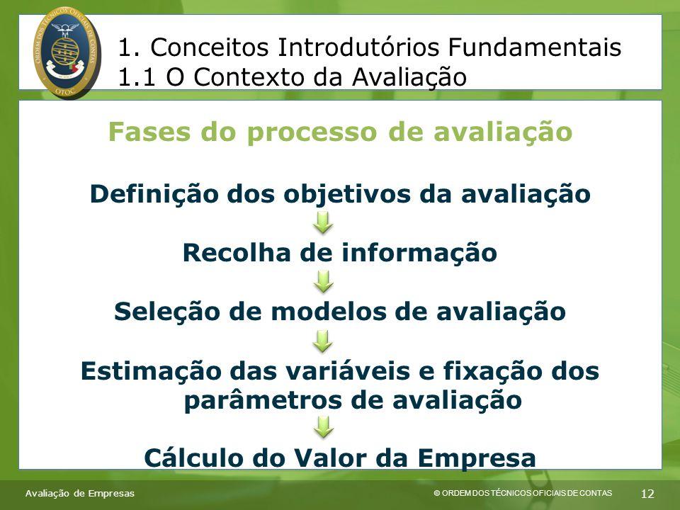 © ORDEM DOS TÉCNICOS OFICIAIS DE CONTAS 12 Fases do processo de avaliação Definição dos objetivos da avaliação Recolha de informação Seleção de modelos de avaliação Estimação das variáveis e fixação dos parâmetros de avaliação Cálculo do Valor da Empresa 1.