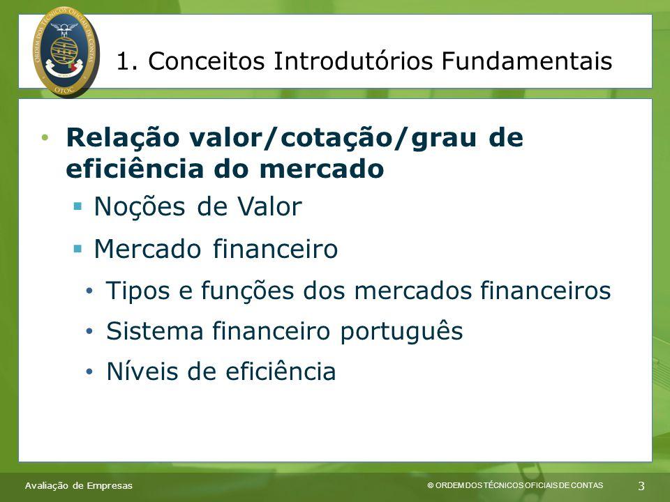 © ORDEM DOS TÉCNICOS OFICIAIS DE CONTAS 3 Relação valor/cotação/grau de eficiência do mercado  Noções de Valor  Mercado financeiro Tipos e funções dos mercados financeiros Sistema financeiro português Níveis de eficiência Avaliação de Empresas 1.