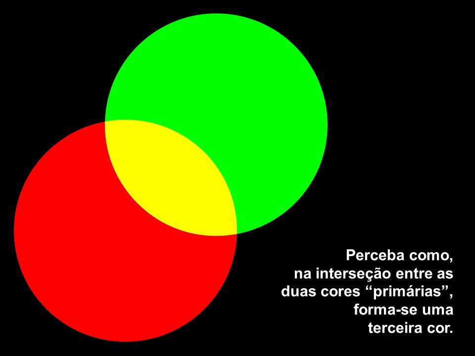 """Perceba como, na interseção entre as duas cores """"primárias"""", forma-se uma terceira cor."""
