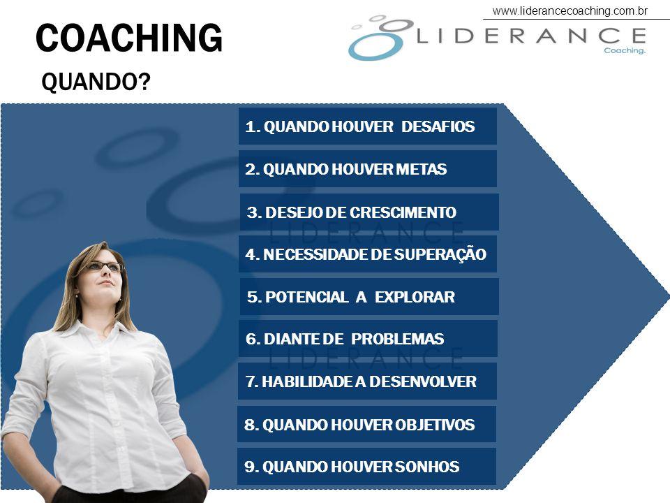 QUANDO.COACHING 1. QUANDO HOUVER DESAFIOS 4. NECESSIDADE DE SUPERAÇÃO 5.