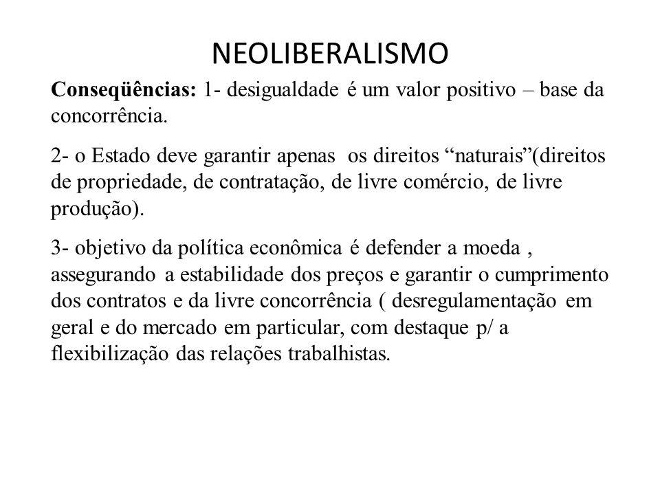 """NEOLIBERALISMO Conseqüências: 1- desigualdade é um valor positivo – base da concorrência. 2- o Estado deve garantir apenas os direitos """"naturais""""(dire"""