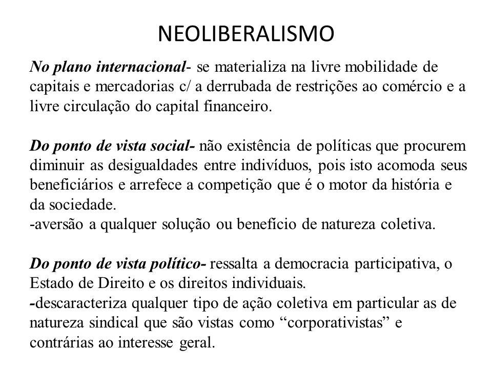 NEOLIBERALISMO No plano internacional- se materializa na livre mobilidade de capitais e mercadorias c/ a derrubada de restrições ao comércio e a livre